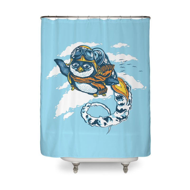 Flying Penguin Home Shower Curtain by CPdesign's Artist Shop