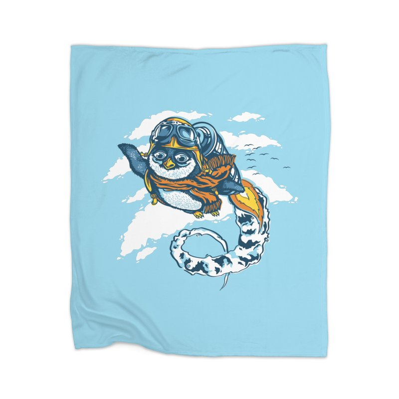 Flying Penguin Home Fleece Blanket by CPdesign's Artist Shop