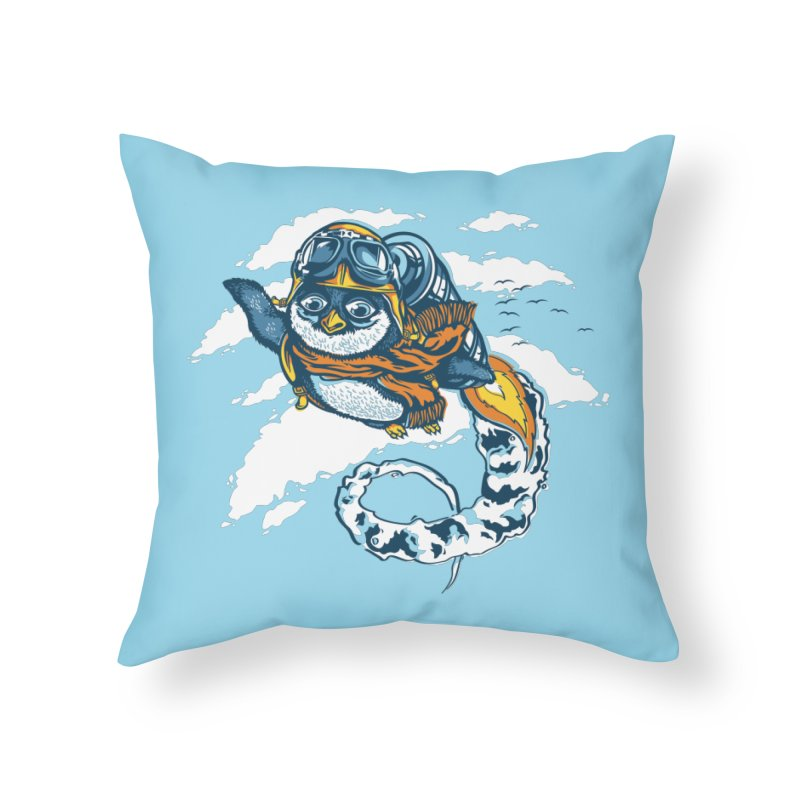 Flying Penguin Home Throw Pillow by CPdesign's Artist Shop