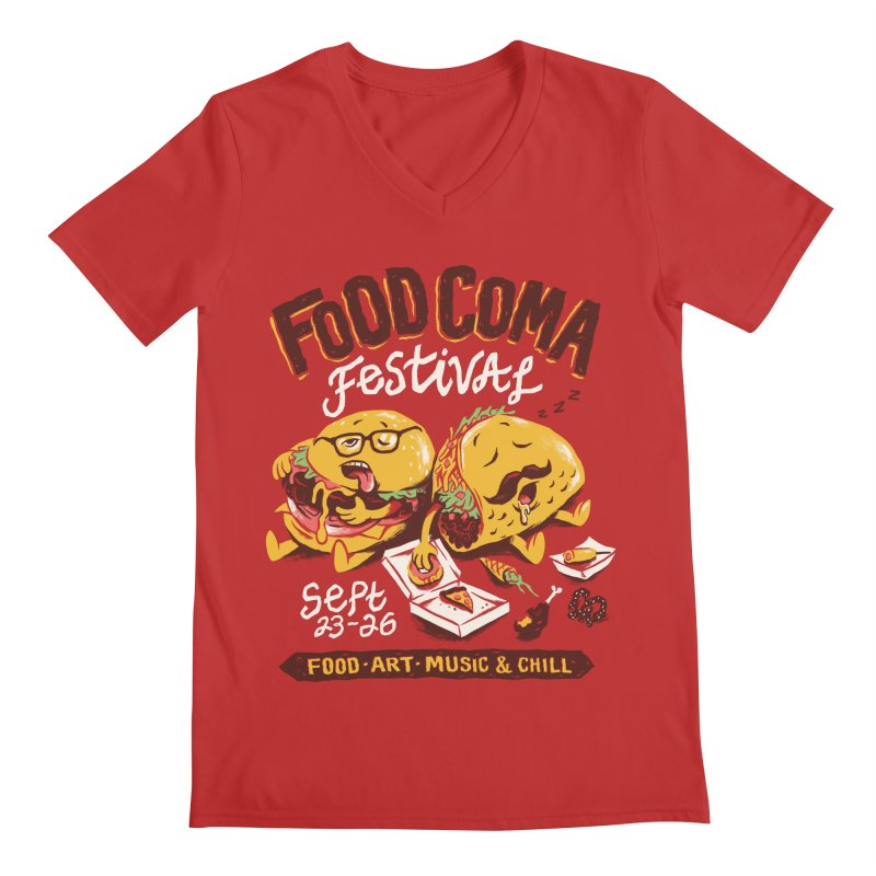 Food Coma Men's Regular V-Neck by CPdesign's Artist Shop
