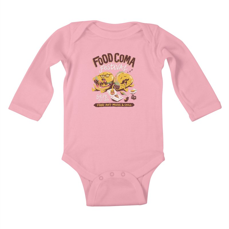 Food Coma Kids Baby Longsleeve Bodysuit by CPdesign's Artist Shop