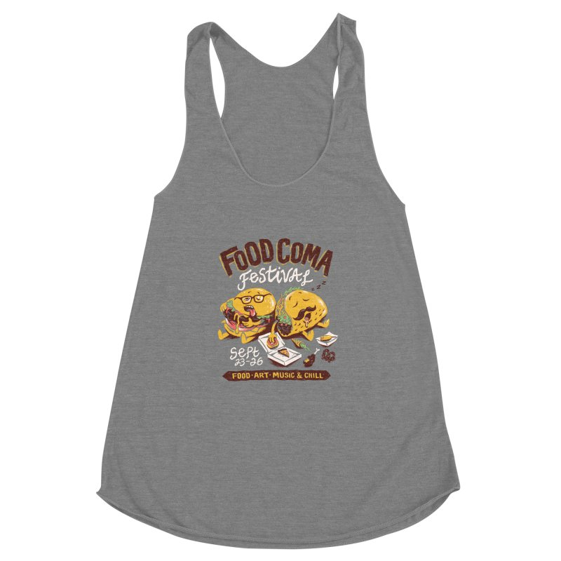 Food Coma Women's Racerback Triblend Tank by CPdesign's Artist Shop