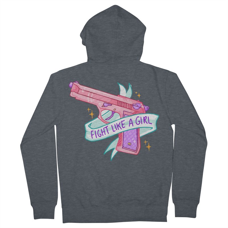 Fight Like a Girl Men's Zip-Up Hoody by Cesar Peralta