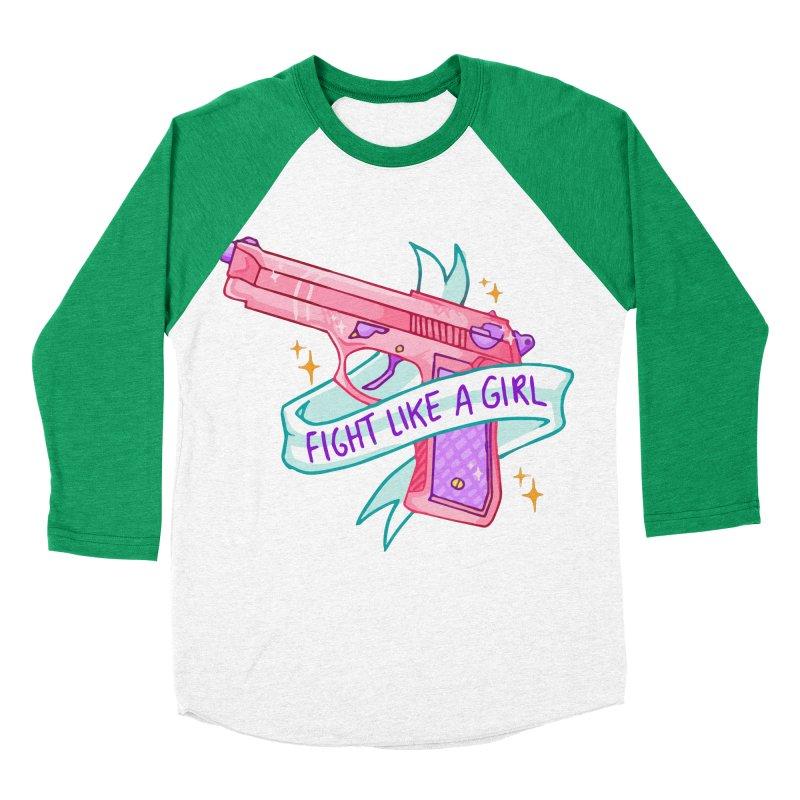 Fight Like a Girl Women's Baseball Triblend T-Shirt by Cesar Peralta