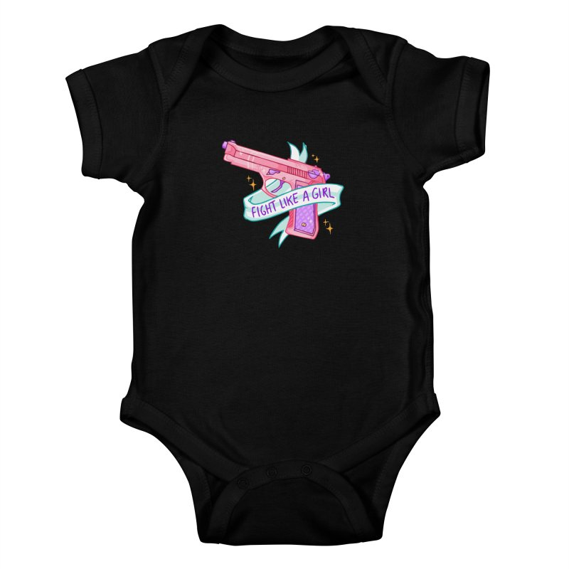 Fight Like a Girl Kids Baby Bodysuit by Cesar Peralta