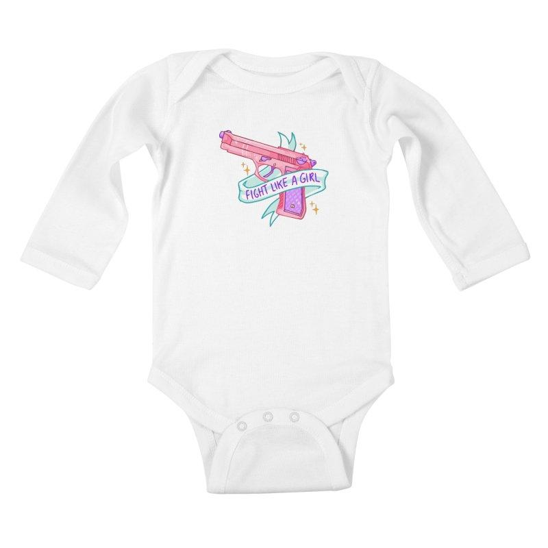 Fight Like a Girl Kids Baby Longsleeve Bodysuit by Cesar Peralta