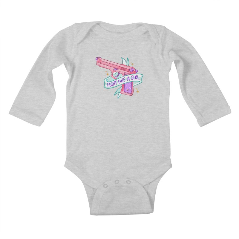 Fight Like a Girl Kids Baby Longsleeve Bodysuit by Cesar Peralta