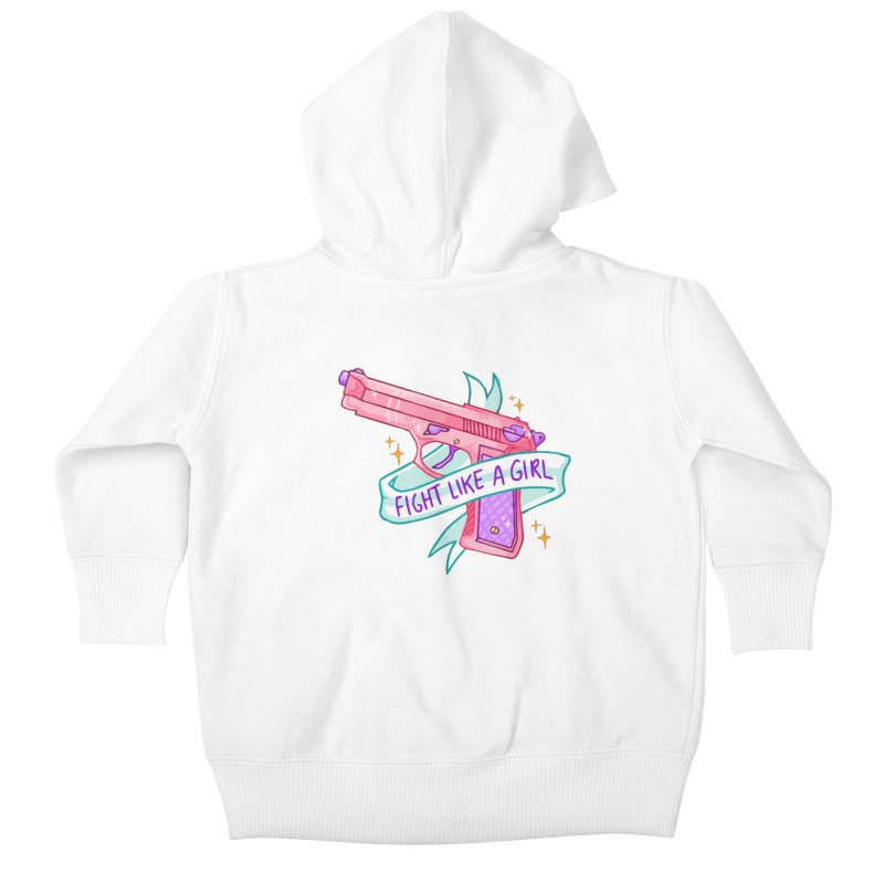 Fight Like a Girl Kids Baby Zip-Up Hoody by Cesar Peralta
