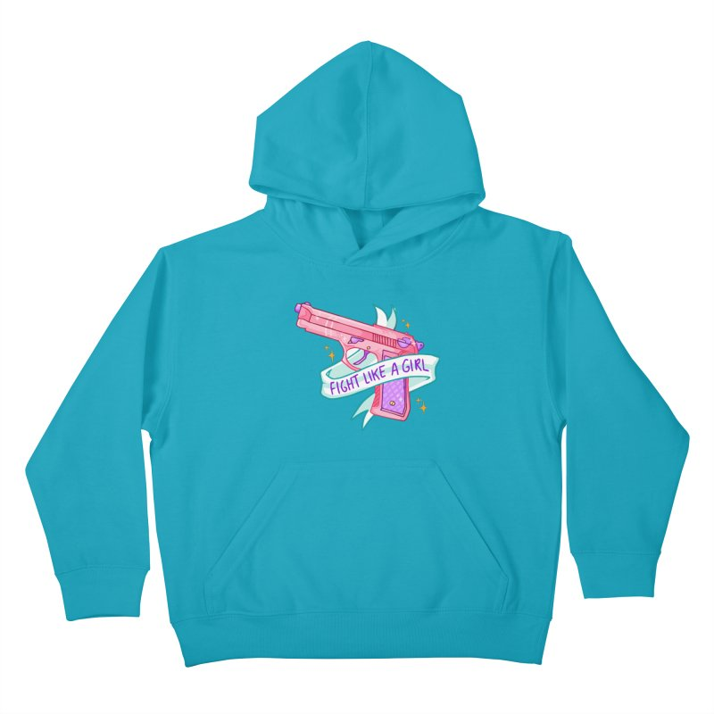 Fight Like a Girl Kids Pullover Hoody by Cesar Peralta