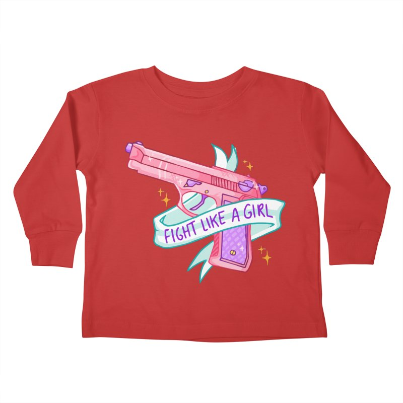 Fight Like a Girl Kids Toddler Longsleeve T-Shirt by Cesar Peralta