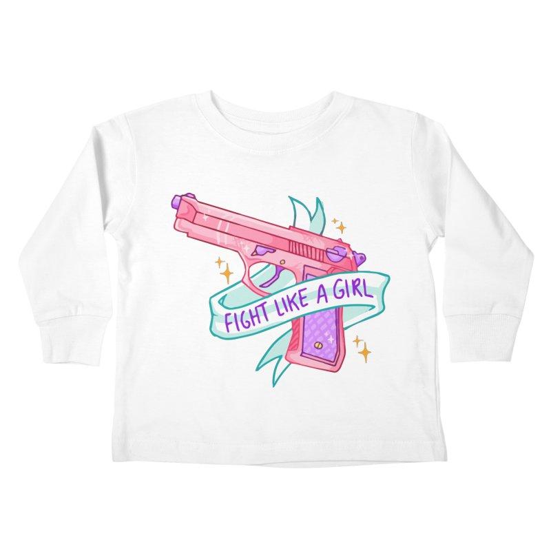 Fight Like a Girl Kids Toddler Longsleeve T-Shirt by Cesar Peralta