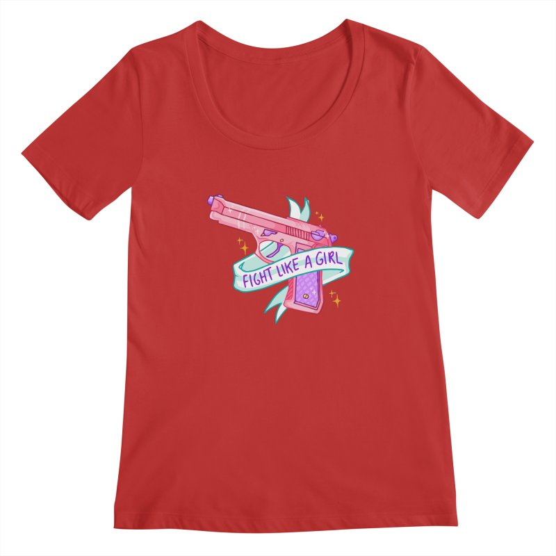 Fight Like a Girl Women's Scoopneck by Cesar Peralta