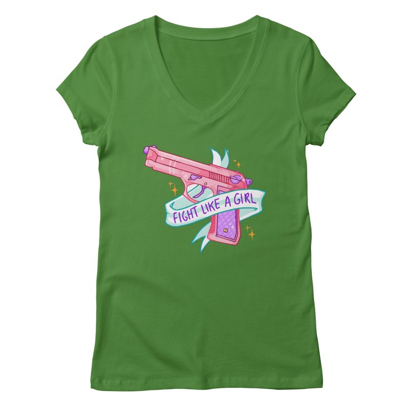 Fight Like a Girl Women's V-Neck by Cesar Peralta
