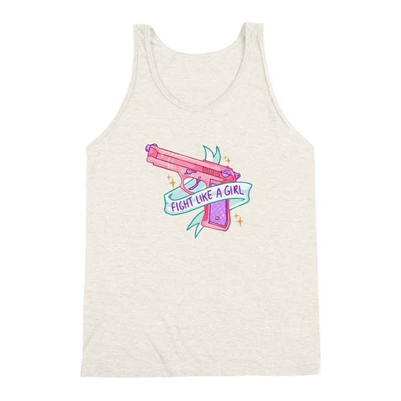 Fight Like a Girl Men's Triblend Tank by Cesar Peralta