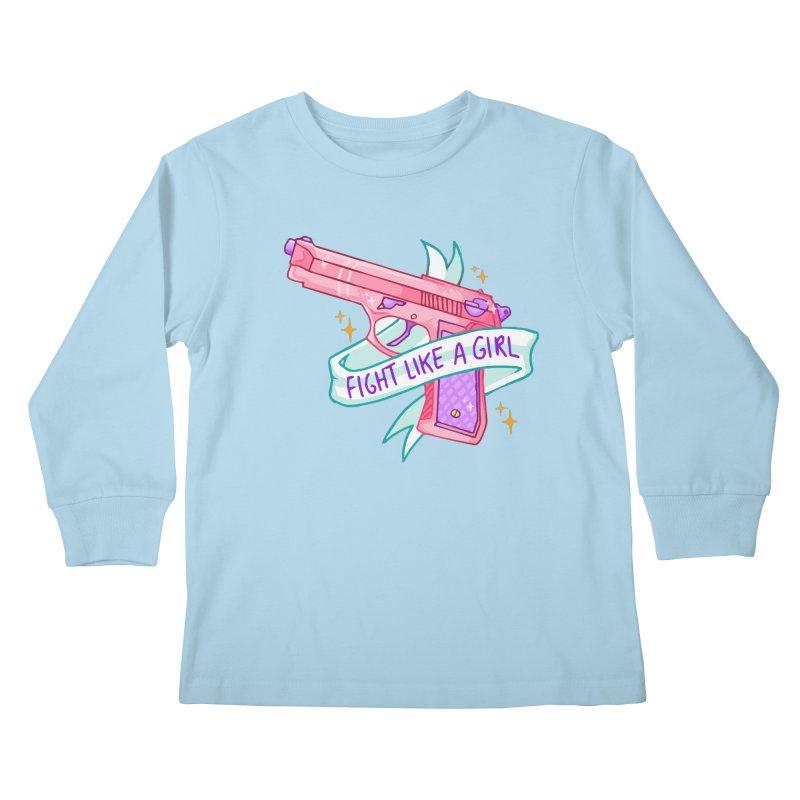 Fight Like a Girl Kids Longsleeve T-Shirt by Cesar Peralta