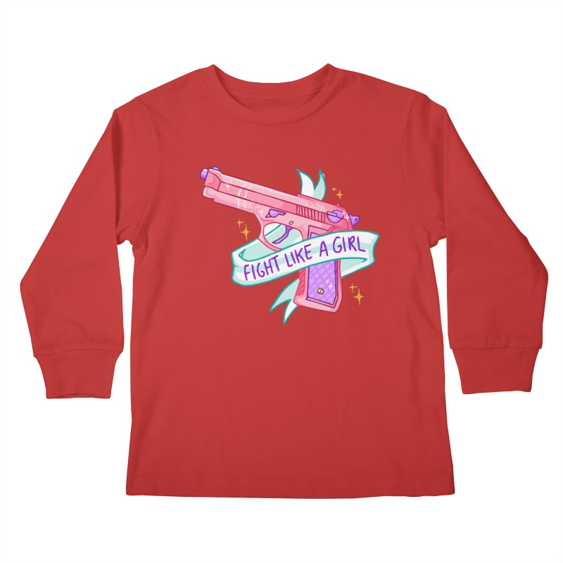 Fight Like a Girl Kids Longsleeve T-Shirt by Cesar Peralta
