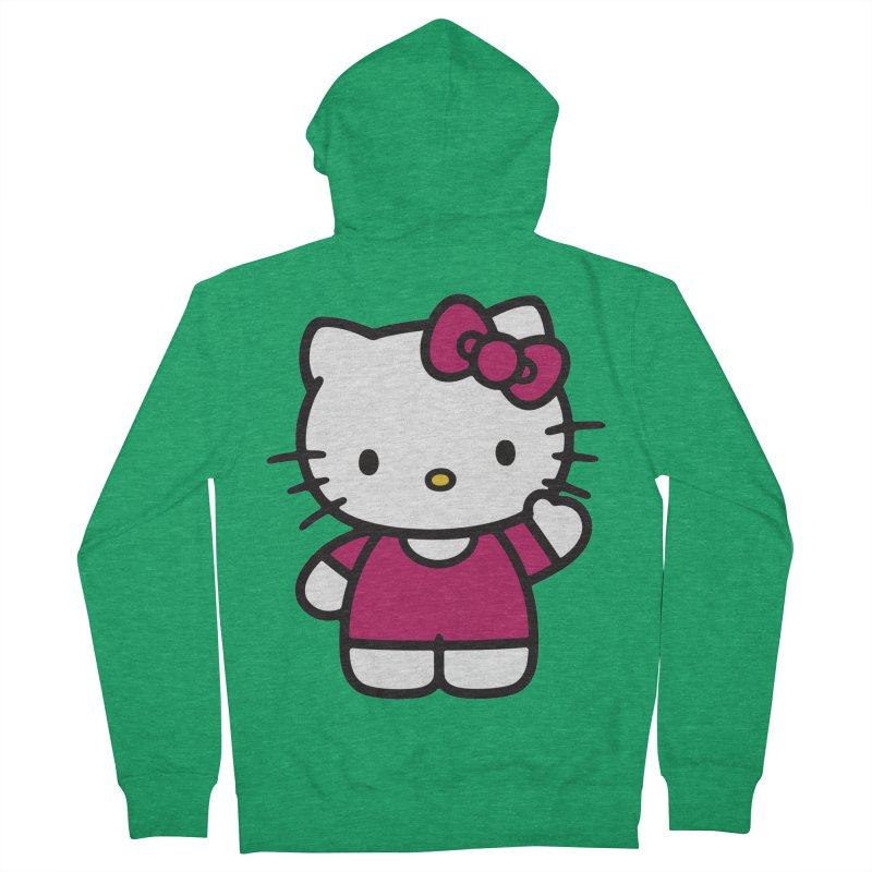 Kitty saying hello Men's Zip-Up Hoody by Cesar Peralta