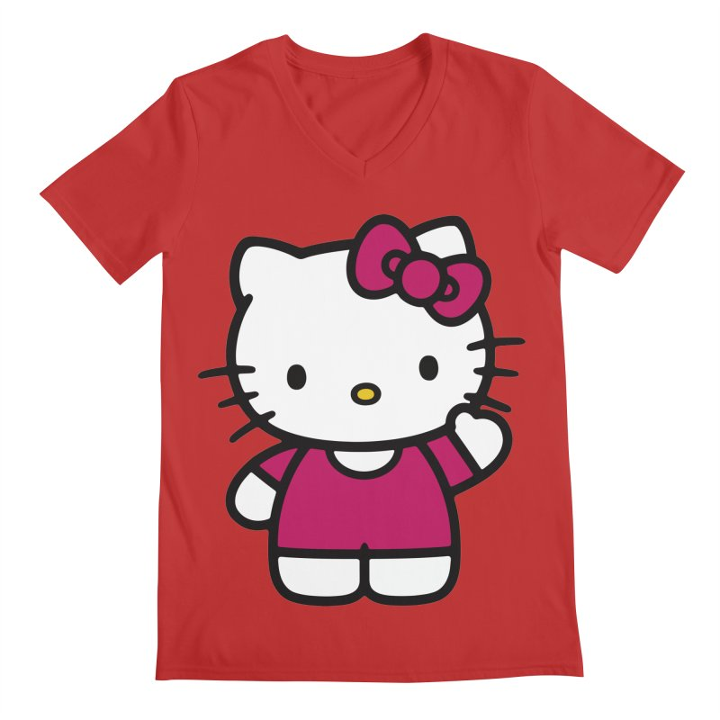 Kitty saying hello Men's V-Neck by Cesar Peralta