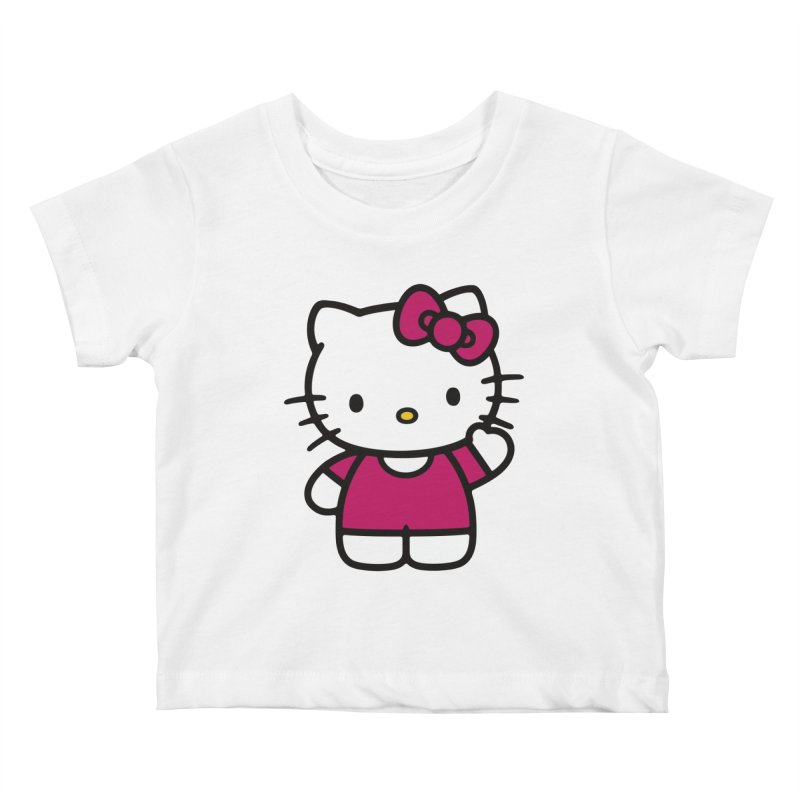 Kitty saying hello Kids Baby T-Shirt by Cesar Peralta