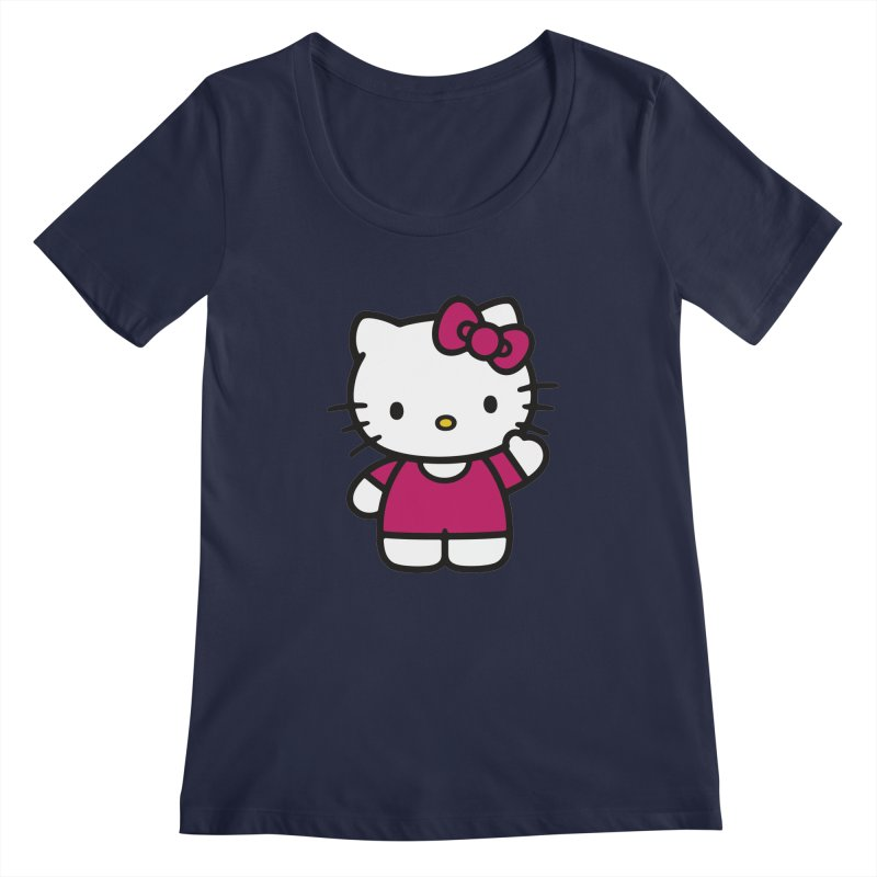Kitty saying hello Women's Scoopneck by Cesar Peralta