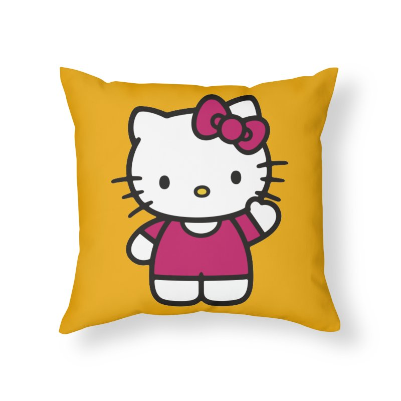 Kitty saying hello Home Throw Pillow by Cesar Peralta