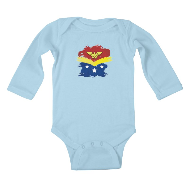 Wonder woman painting Kids Baby Longsleeve Bodysuit by Cesar Peralta