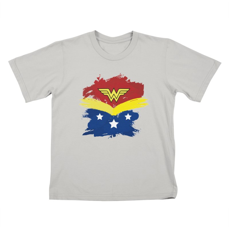 Wonder woman painting Kids T-shirt by Cesar Peralta