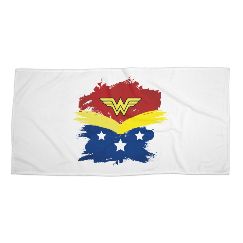 Wonder woman painting Accessories Beach Towel by Cesar Peralta