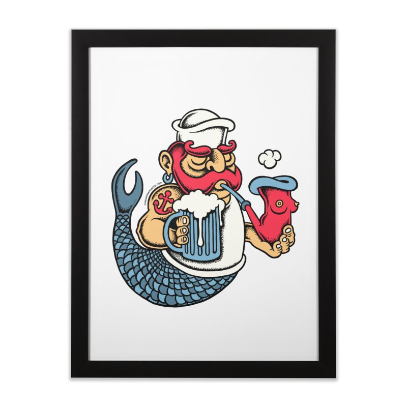 Sailor Mermaid II Home Framed Fine Art Print by cphposter's Artist Shop