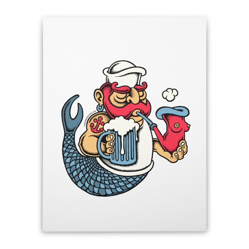 Sailor Mermaid II Home Stretched Canvas by cphposter's Artist Shop