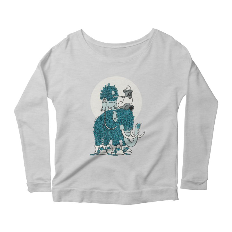 Walking the mammoth Women's Longsleeve Scoopneck  by cphposter's Artist Shop