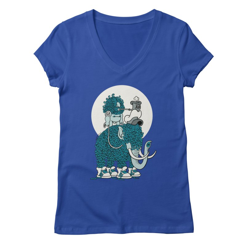 Walking the mammoth Women's V-Neck by cphposter's Artist Shop