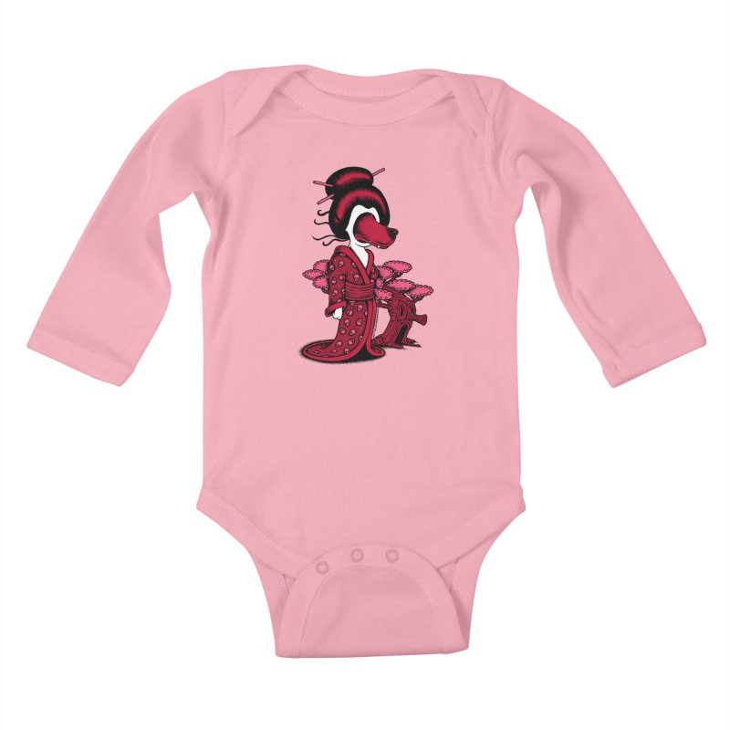 Wolf Geisha Kids Baby Longsleeve Bodysuit by cphposter's Artist Shop
