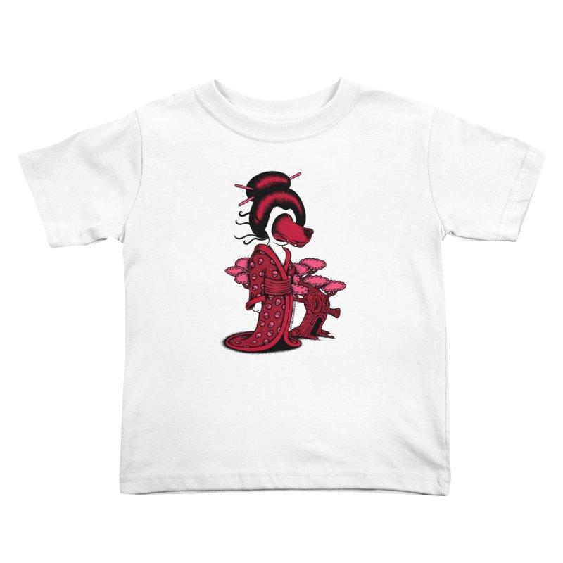 Wolf Geisha Kids Toddler T-Shirt by cphposter's Artist Shop