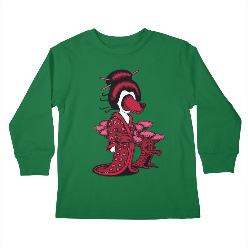 Wolf Geisha Kids Longsleeve T-Shirt by cphposter's Artist Shop