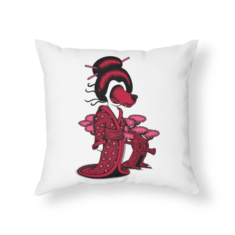 Wolf Geisha Home Throw Pillow by cphposter's Artist Shop