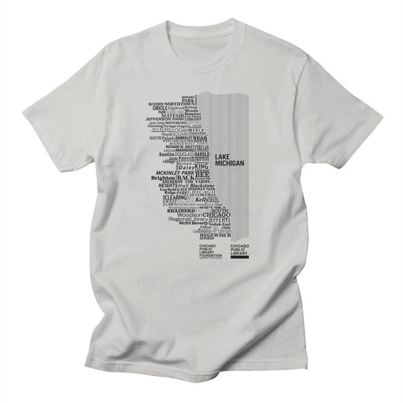 Chicago Public Library Map Black in Men's Regular T-Shirt Stone by Chicago Public Library Artist Shop
