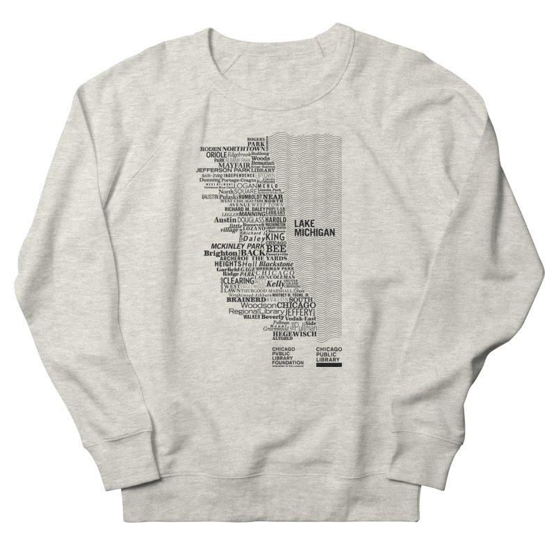 Chicago Public Library Map Black Men's French Terry Sweatshirt by Chicago Public Library Artist Shop