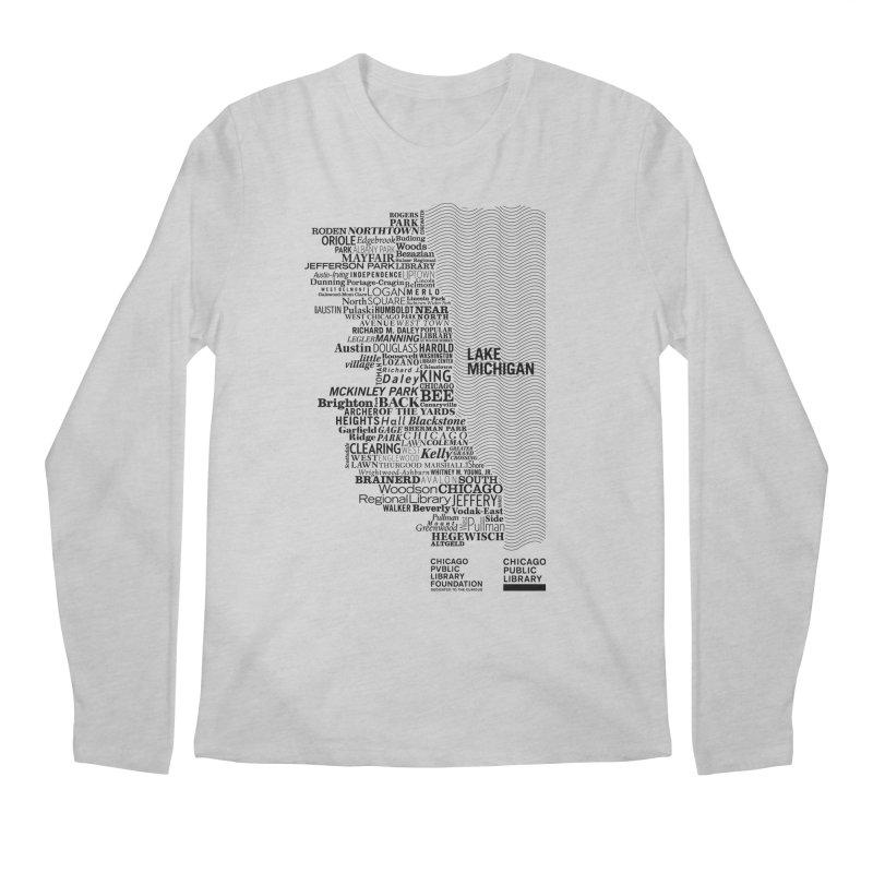 Chicago Public Library Map Black Men's Longsleeve T-Shirt by cplfoundation's Artist Shop