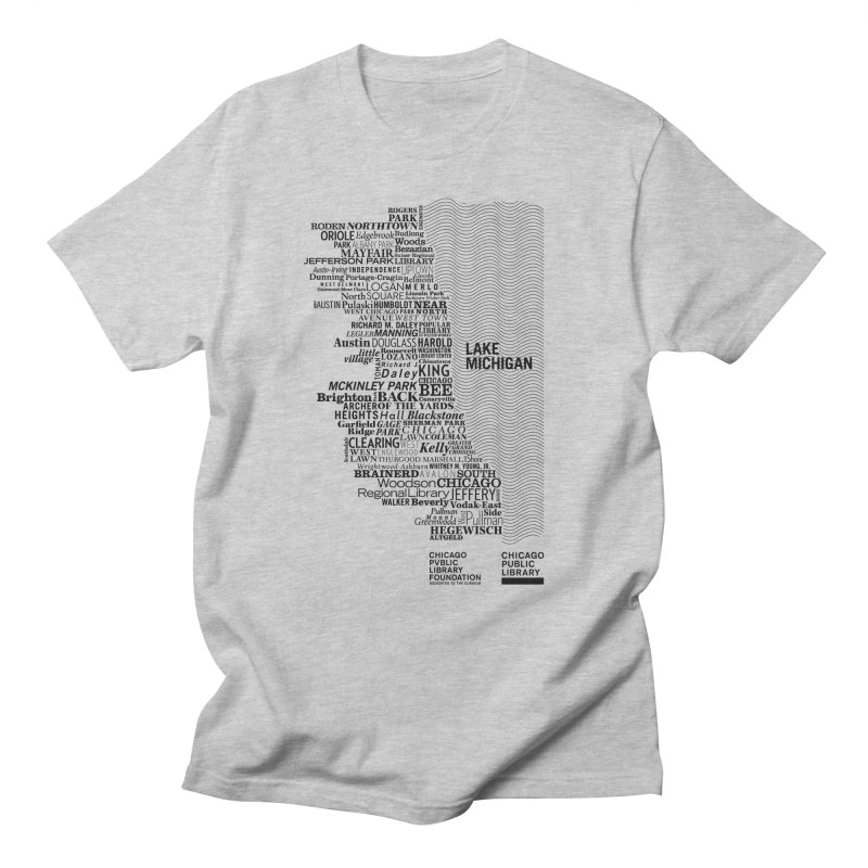 Chicago Public Library Map Black Men's T-shirt by cplfoundation's Artist Shop