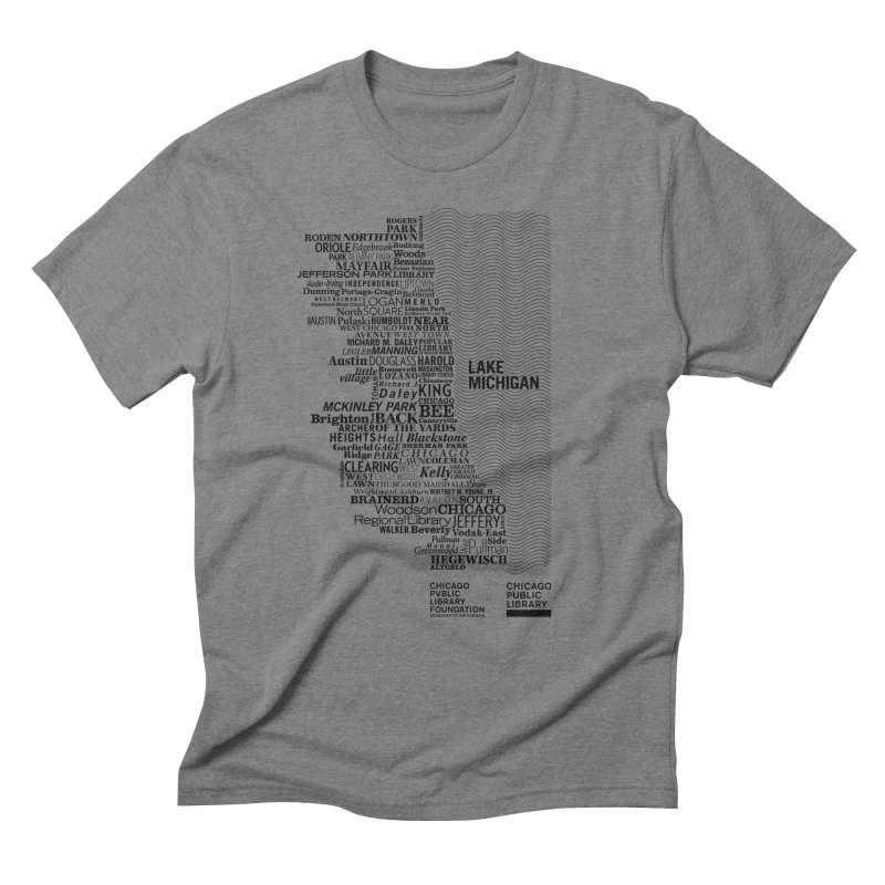 Chicago Public Library Map Black in Men's Triblend T-Shirt Grey Triblend by cplfoundation's Artist Shop