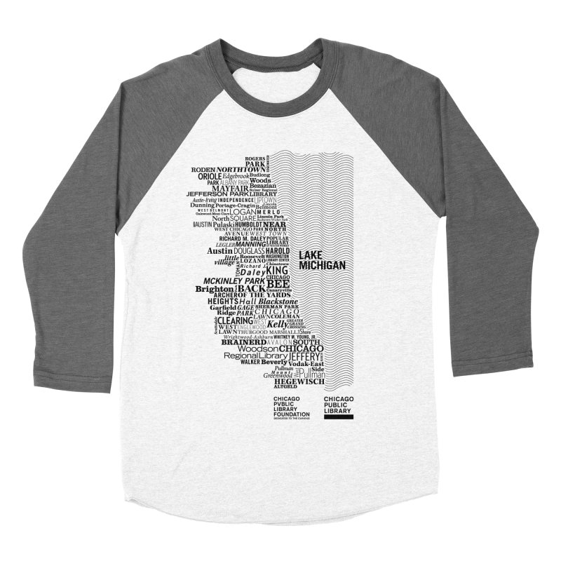 Chicago Public Library Map Black Women's Baseball Triblend T-Shirt by cplfoundation's Artist Shop