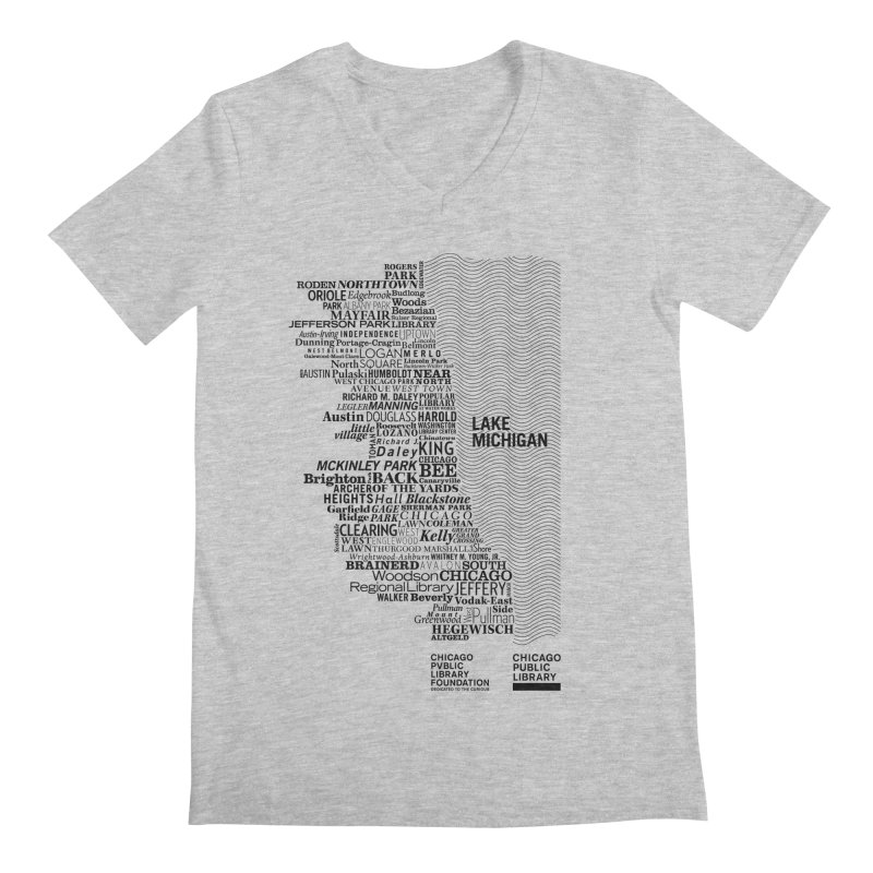 Chicago Public Library Map Black Men's V-Neck by cplfoundation's Artist Shop