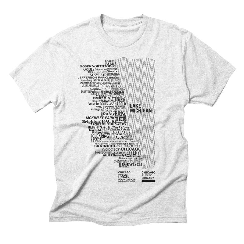Chicago Public Library Map Black Men's Triblend T-shirt by cplfoundation's Artist Shop