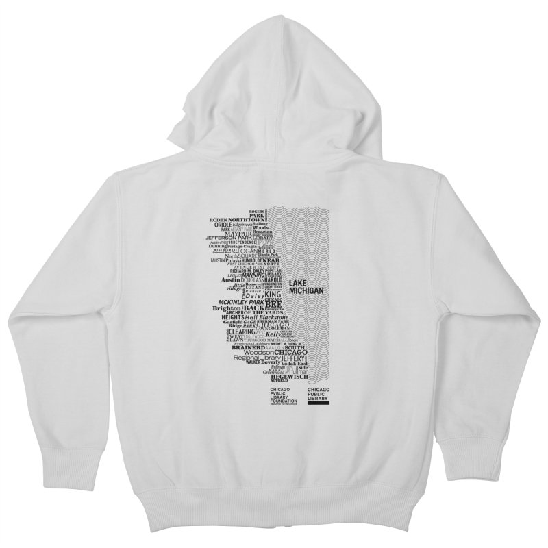 Chicago Public Library Map Black Kids Zip-Up Hoody by cplfoundation's Artist Shop