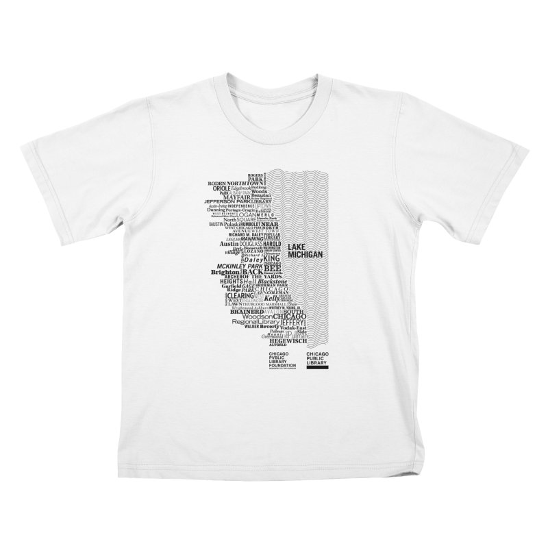 Chicago Public Library Map Black Kids T-shirt by cplfoundation's Artist Shop