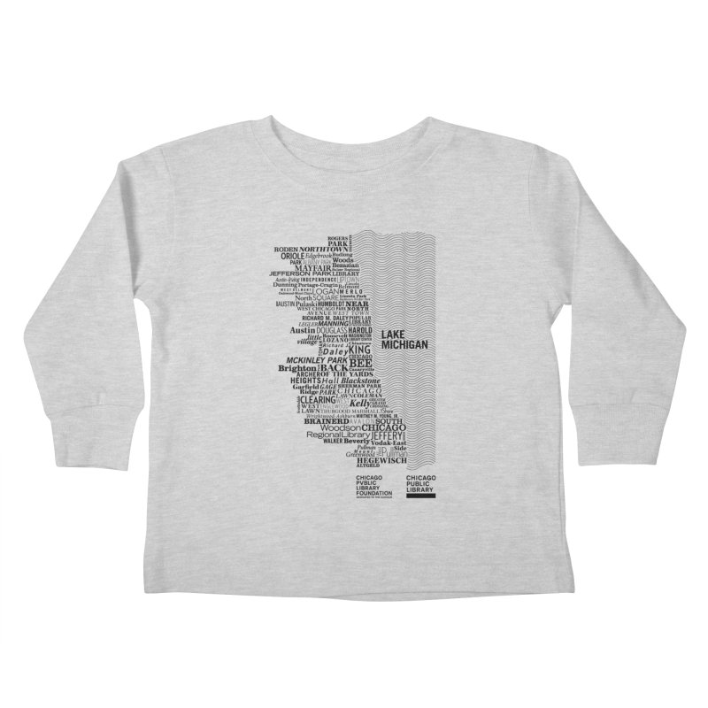 Chicago Public Library Map Black Kids Toddler Longsleeve T-Shirt by cplfoundation's Artist Shop