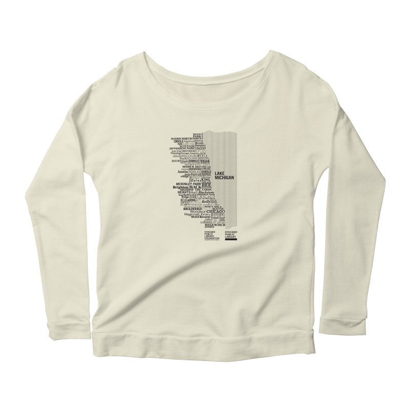 Chicago Public Library Map Black Women's Scoop Neck Longsleeve T-Shirt by Chicago Public Library Artist Shop