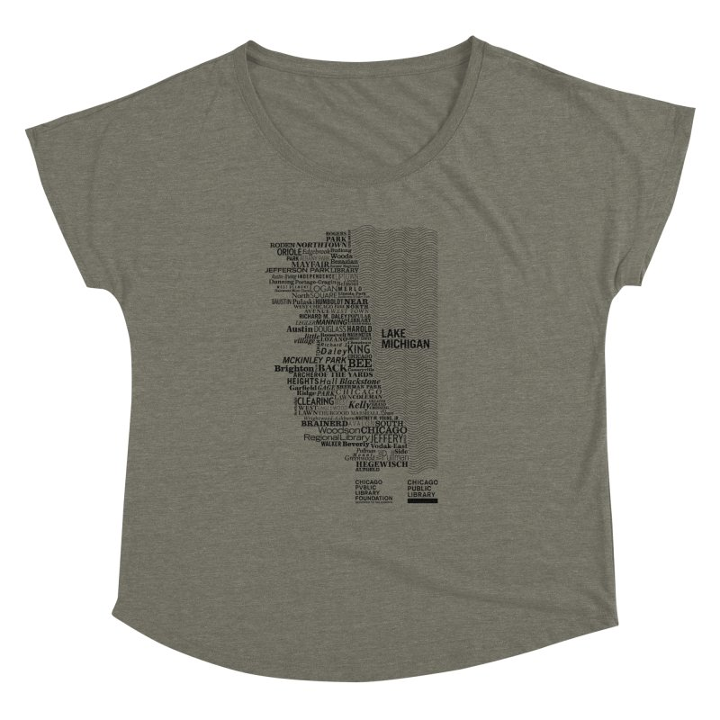 Chicago Public Library Map Black Women's Dolman by cplfoundation's Artist Shop