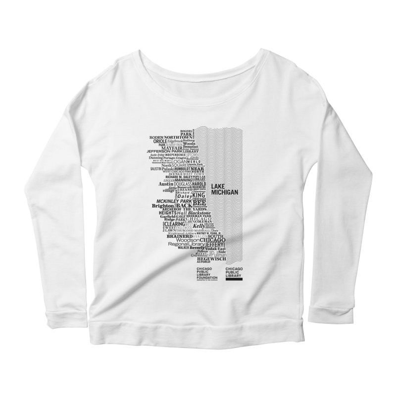 Chicago Public Library Map Black Women's Longsleeve Scoopneck  by cplfoundation's Artist Shop